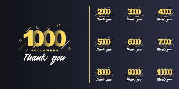 1000, 2000, 3000, 4000, 5000, 6000, 7000, 8000, 9000, 10000 volgers bedankt set