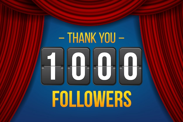 1000 volgers abonnees, bedankt banner.