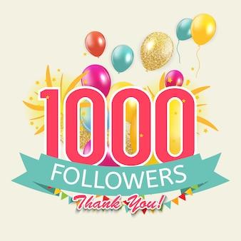 1000 volgers, bedankachtergrond voor vrienden van het sociale netwerk.