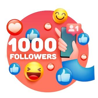 1000 volgers gefeliciteerd kaartsjabloon met menselijke hand met smartphone