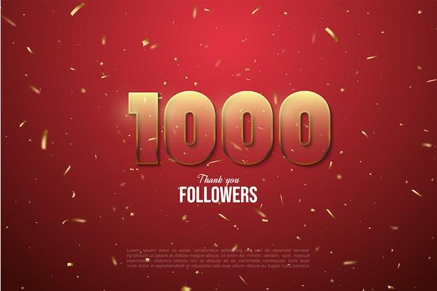 1000 volgers met gouden confetti
