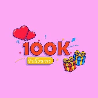 100k volgers banner vector illustratie ontwerp