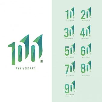 100ste verjaardag instellen logo vector sjabloon ontwerp illustratie