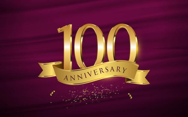 100ste verjaardag met illustraties 3d cijfers gouden behang / achtergrond