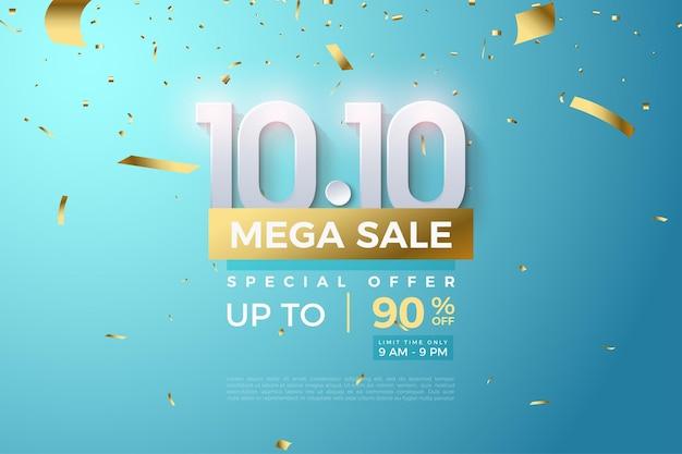1010 verkoop met 3d-nummer schoon en modern