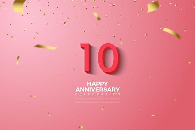 10e verjaardag roze achtergrond met cijfers en kleine gouden papieruitsparingen