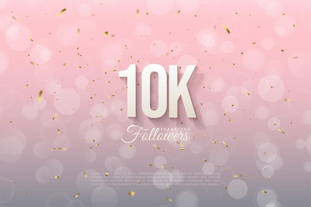 10k follower-achtergrond met cijfers en roze achtergrond met bokeh-effect.