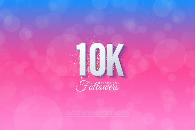 10k follower-achtergrond met cijfers op de achtergrond, gesorteerd van blauw naar roze.