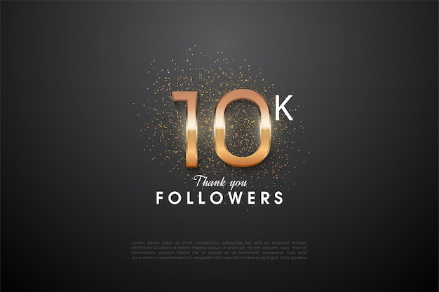 10k follower-achtergrond met glanzende numerieke illustraties en oranje glitter erachter.