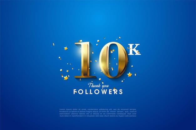 10k follower-achtergrond met gloeiende gouden cijfers van de kant van de cijfers.
