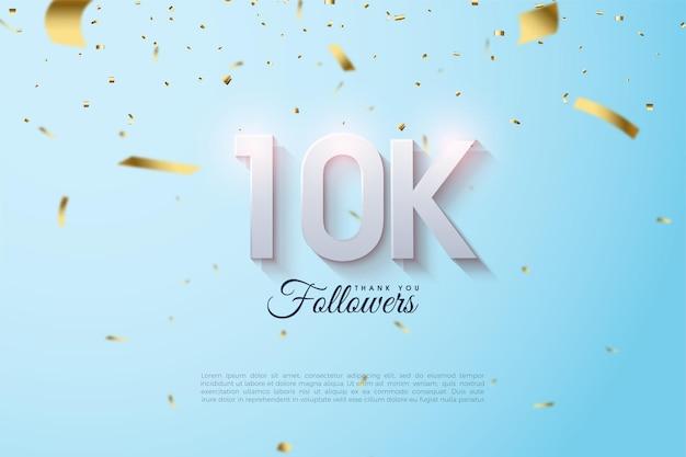 10k follower-achtergrond met licht gearceerde numerieke illustraties en gevallen goudfolie.