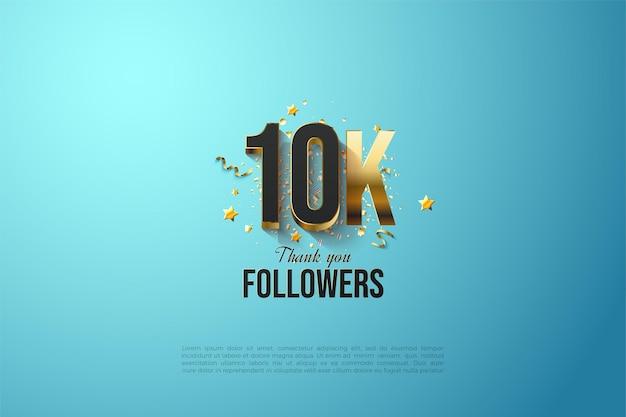 10k follower-achtergrond met vergulde cijfers op een hemelsblauwe achtergrond.