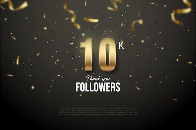 10k follower-achtergrond met versierde gouden cijfers en lintillustratie.