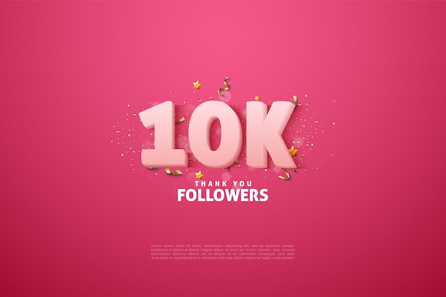 10k follower-achtergrond met vloeiende numerieke kleuren.