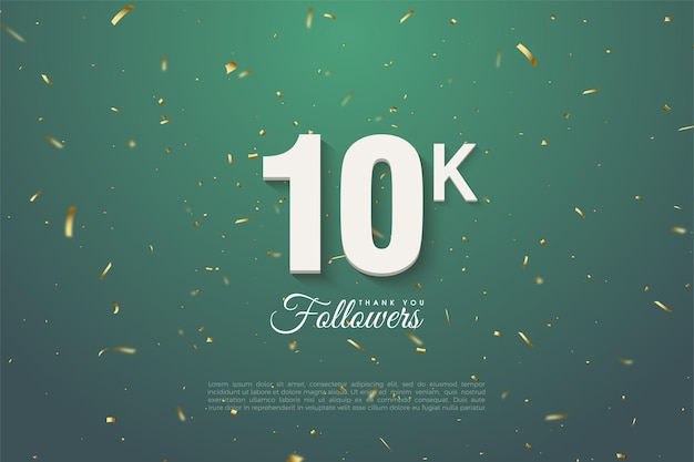 10k follower-achtergrond met witte cijfers op een donkergroene achtergrond in gouden patronen.