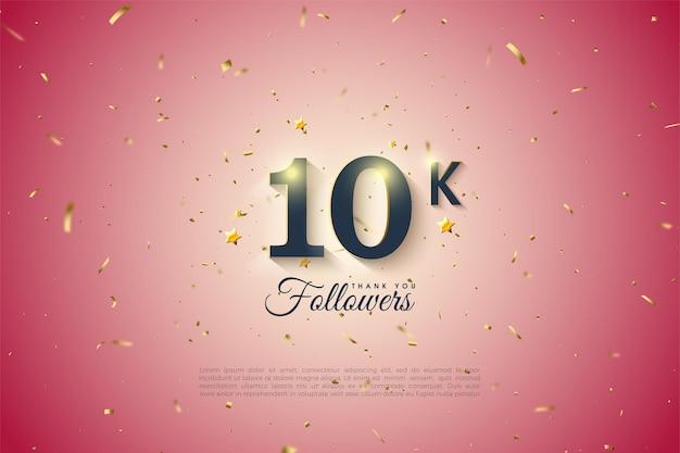 10k follower-achtergrond met zwarte cijfers en kleine gouden sterren.