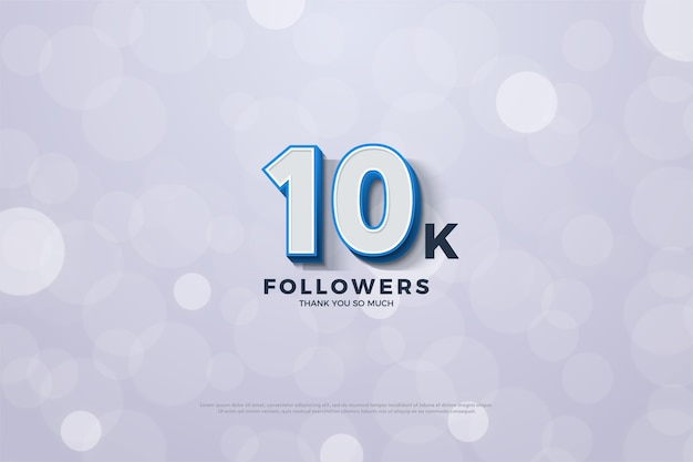 10k volgers of abonnees met 3d-numerieke illustraties vallen op.