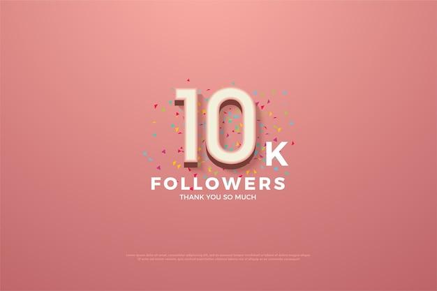 10k volgers of abonnees met een prominent roze 3d-nummer.