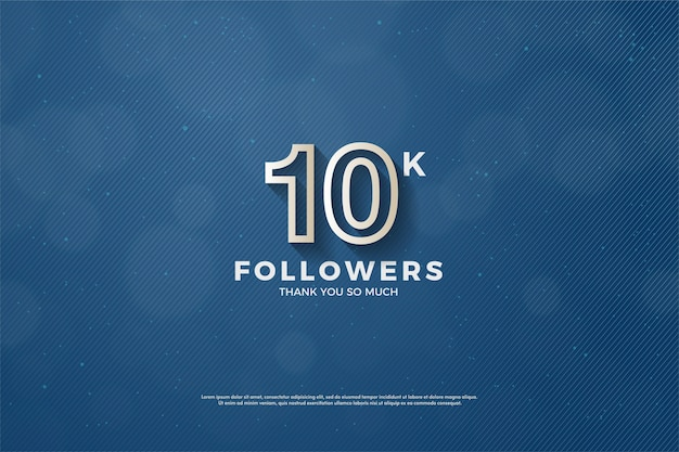 10k volgers of abonnees met een witte lijn vormen een nummer.