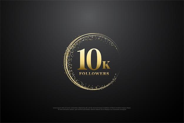 10k volgers of abonnees met gouden cijfers en gouden glitter.