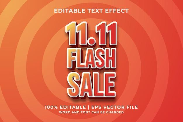 11.11 flash sale 3d bewerkbaar teksteffect premium vector