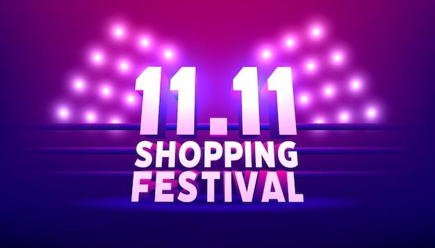 11.11 sjabloon voor spandoek winkelen festival. wereldwinkeldagverkoop 11.11 kortingsvectorbanner.