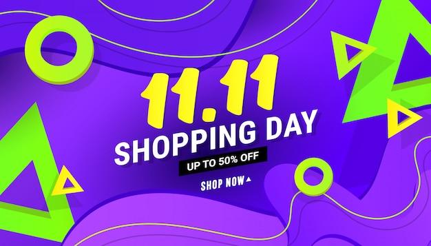 11.11 winkelen dag verkoop banner achtergrond met veelhoekige verloop vormen op blauwe achtergrond