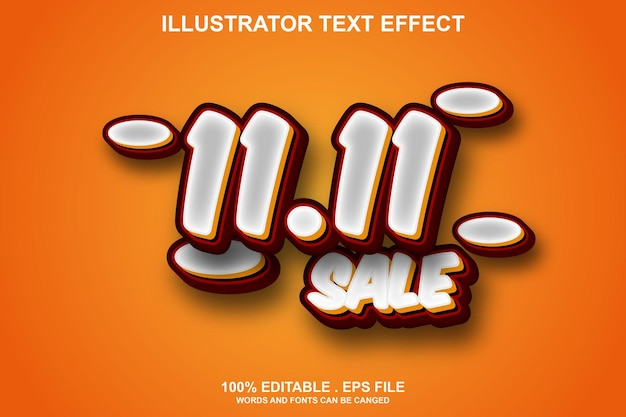 1111 verkoop teksteffect bewerkbaar
