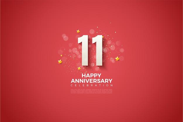 11e verjaardag met 3d-nummers in reliëf op een rode achtergrond.