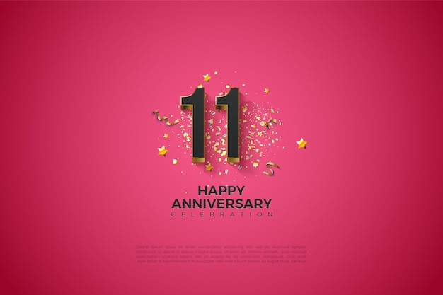 11e verjaardag met goudbruin gelaagde nummerillustratie.