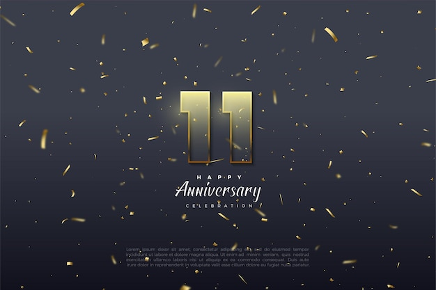 11e verjaardag met goudbruine omlijnde cijfers.