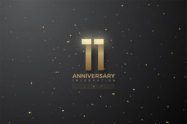 11e verjaardag met gouden confetti