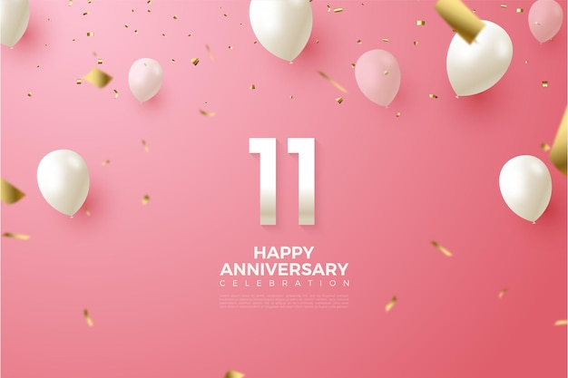 11e verjaardag met illustratie van cijfers en witte ballonnen vliegen.
