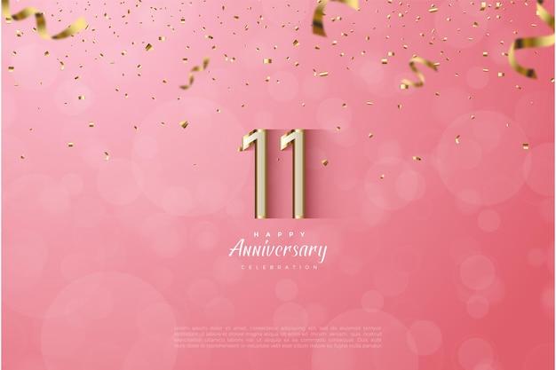 11e verjaardag met luxe goudgerande genummerde illustratie.
