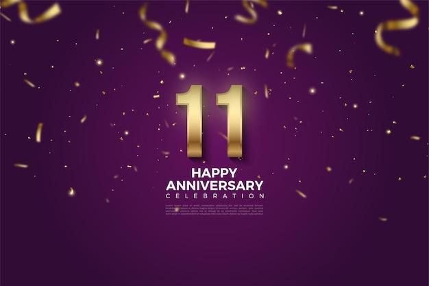 11e verjaardag met nummerillustratie overladen met gouden linten.