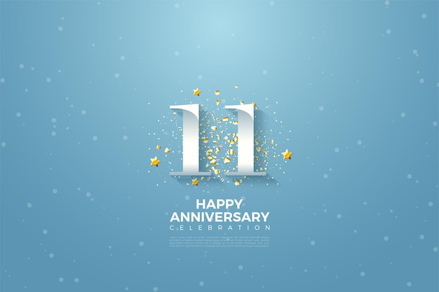 11e verjaardag met nummerillustratie tegen een heldere blauwe hemel.