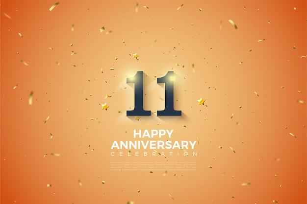 11e verjaardag met zachte wit gearceerde nummers illustratie