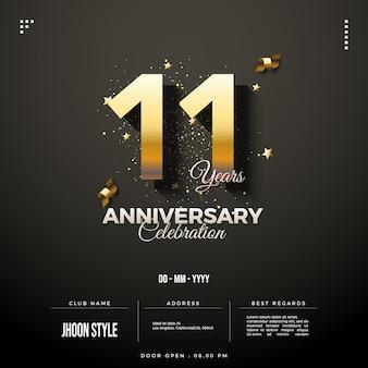 11e verjaardagsuitnodiging met cijfers en gouden linten