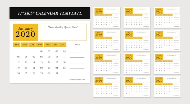 11x8,5 inch horizontale bureaukalender 2020 nieuwjaar vector ontwerpsjabloon ingesteld in gele kleurenthema