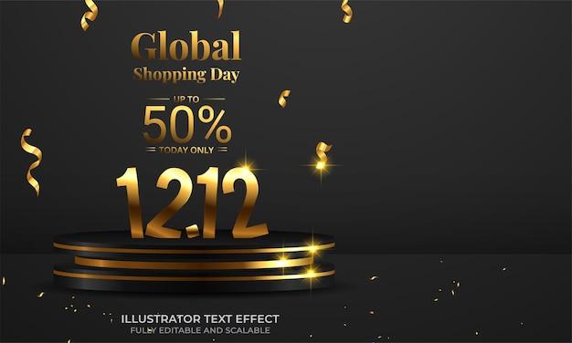 12.12 winkelfestivalverkoopbanner met gouden confetti