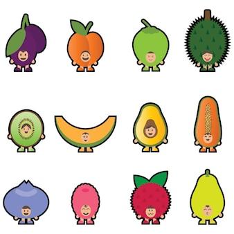 12 fruit mascotte