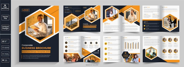 12 pagina's abstract brochureontwerpbedrijfsprofiel brochureontwerp halfgevouwen brochurebifold-brochure
