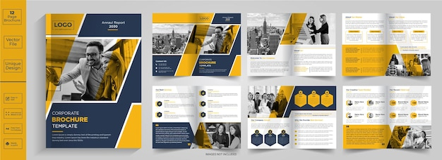 12 pagina's abstract brochureontwerpbedrijfsprofielbrochureontwerphalfgevouwen brochurebifold-brochure
