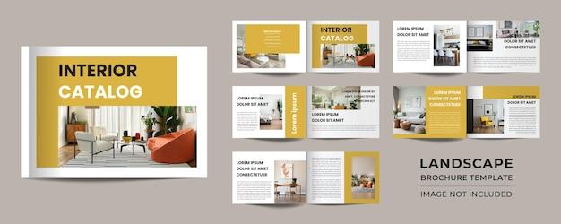 12 pagina's met minimalistisch landschapsinterieurcatalogusportfolioontwerp premium vector