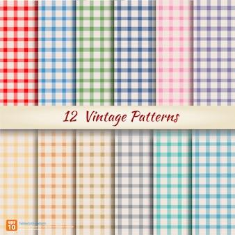 12 retro vintage kleuren verschillende naadloze patronen