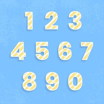 123 set typografie vector streeppatroon