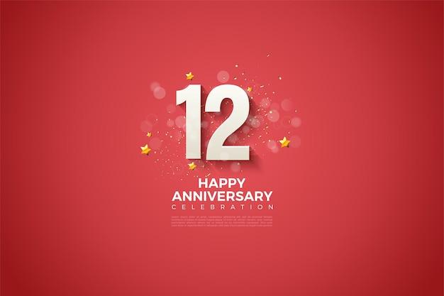 12e verjaardag met cijfers en witte stippen