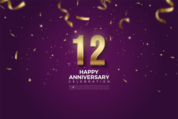 12e verjaardag met getallenillustratie overladen met gouden linten