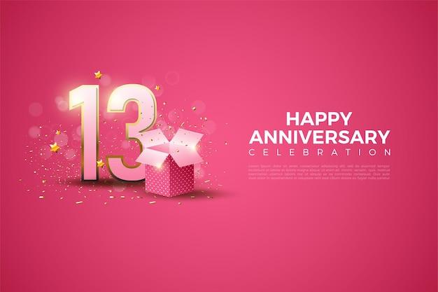 13e verjaardag met getallen en geschenkdoos illustratie.
