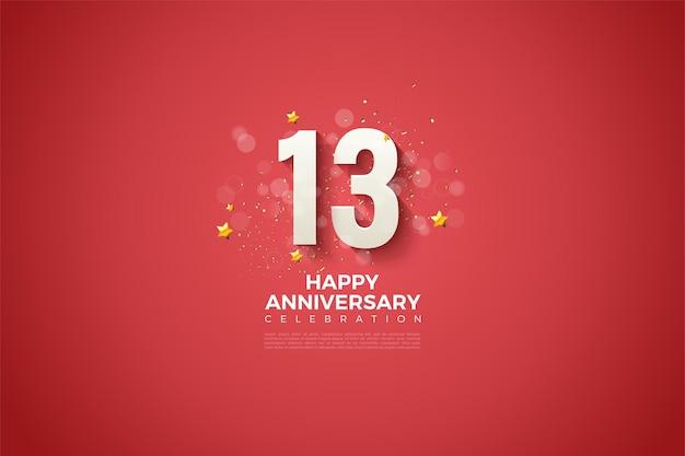 13e verjaardag met mooie numerieke illustraties.